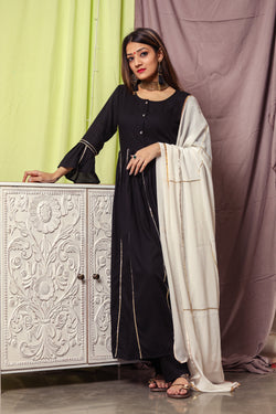 Black Gotta Striped Suit Set With White Dupatta