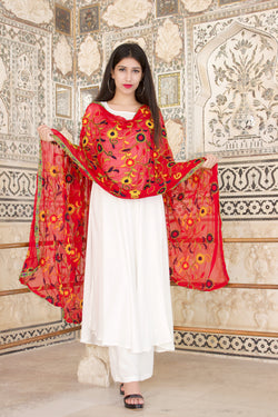 A BEAUTIFUL WHITE FRILL KURTA SET PAIRED WITH THIS GORGEOUS DUPATTA