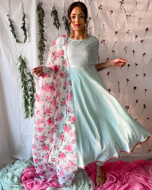 Ocean Blue Suit Set With Floral Dupatta