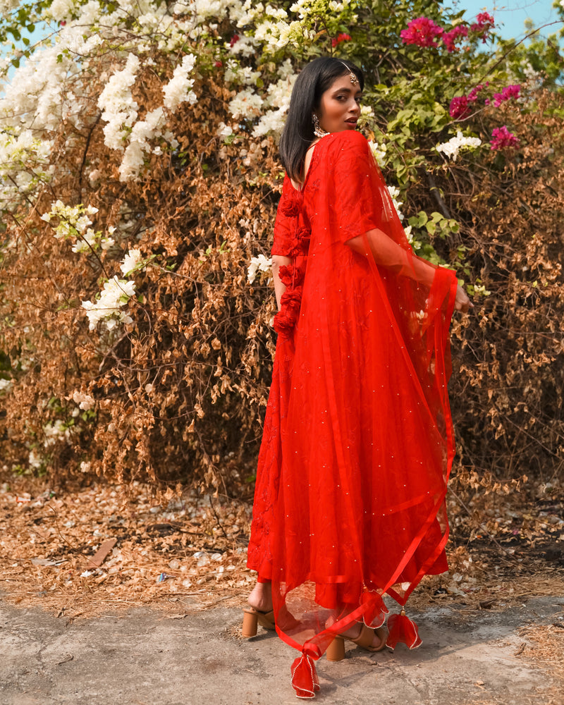 Classic Red Embroidered Anarkali Set
