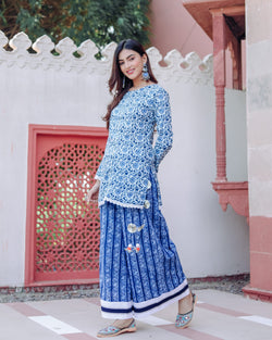 Blue Hand block print Kurta Set