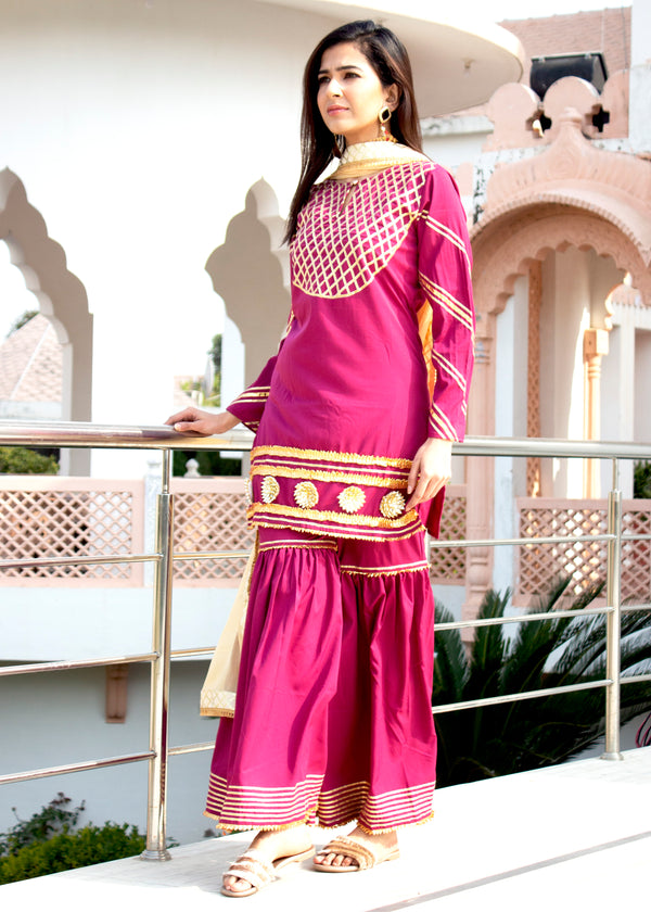 Hot Magenta Gota Suit Set With Golden Dupatta