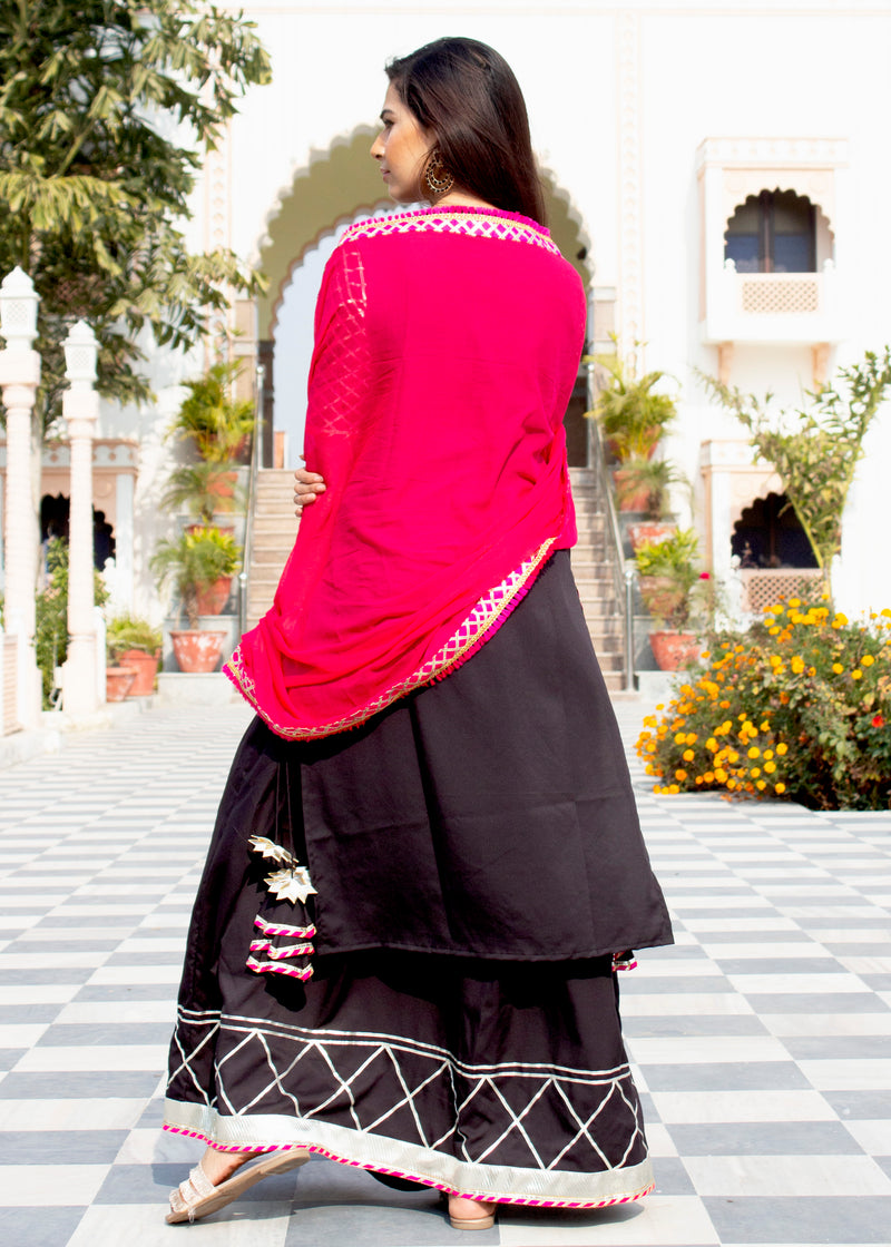 Classic Black And Pink Gota Suit Set