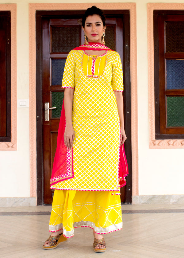 Classic Yellow And Pink Gota Suit Set