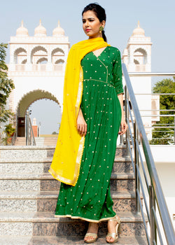 Aabidah Dark green Floor Length Dress