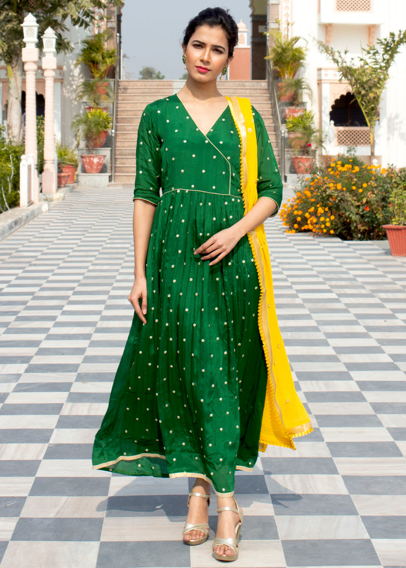 Aabidah Dark green Floor Length Dress with dupatta