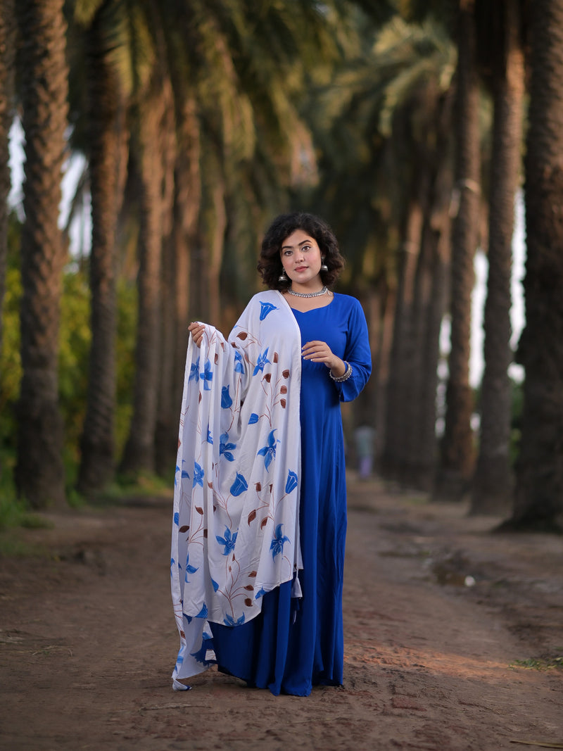 Soothing Blue Suit Set With Hand Painted Dupatta