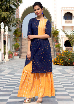 Blue Buttoned Shirt Style Kurta Skirt Set