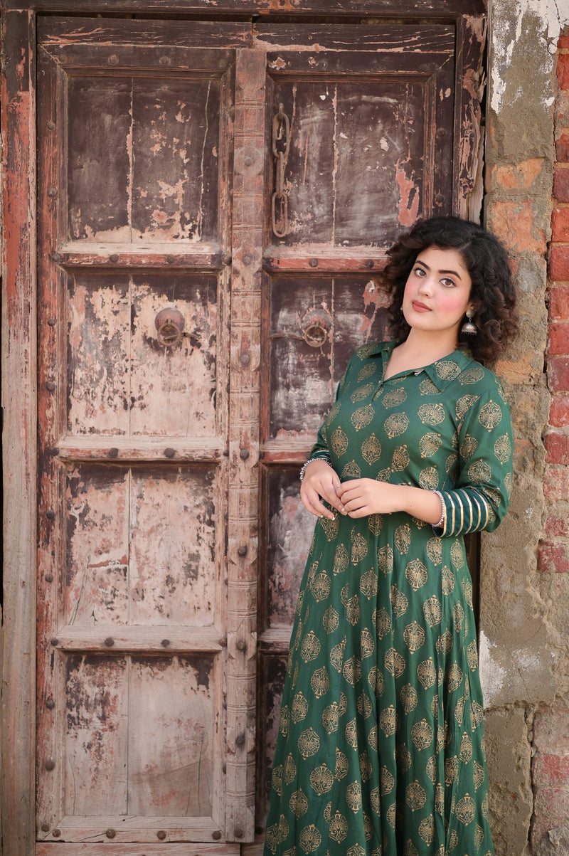Gold Green Cotton Dress
