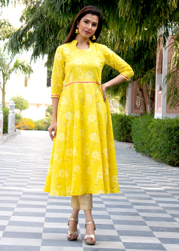 Beautiful Shiny Yellow Kurti With Golden Pant