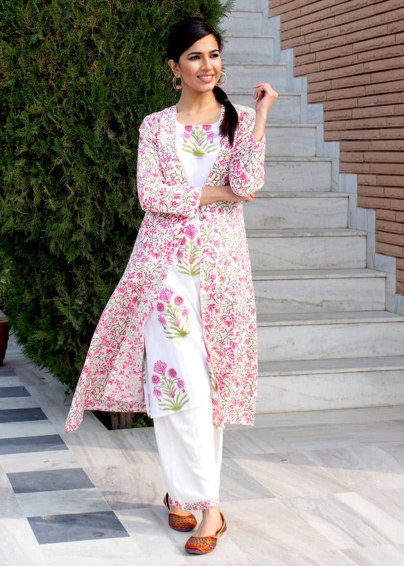 Poppy Pink Kurta Set With A Jacket
