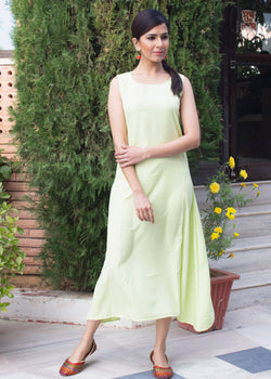 Dusky Lime Green Slim Middi Dress