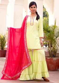 Aasma Green Gota Embroidered Ethnic Sharara Set With Pink Dupatta