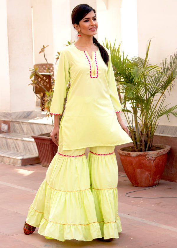 Stylish Green Gota Embroidered Ethnic Sharara Set