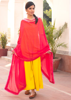 Kesariya Gulab Hot Yellow Gota Dress With Dupatta