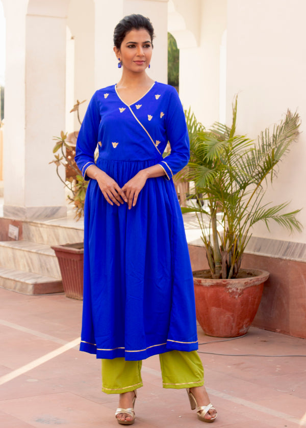 Hot Midnight Blue Anarkali Suit Set