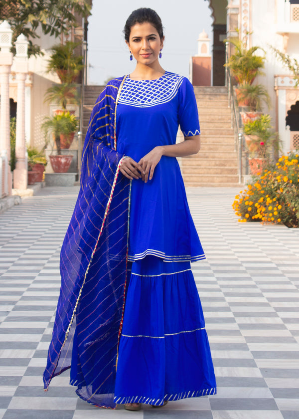 Mukta Hot Blue Short Kurta Skirt Set