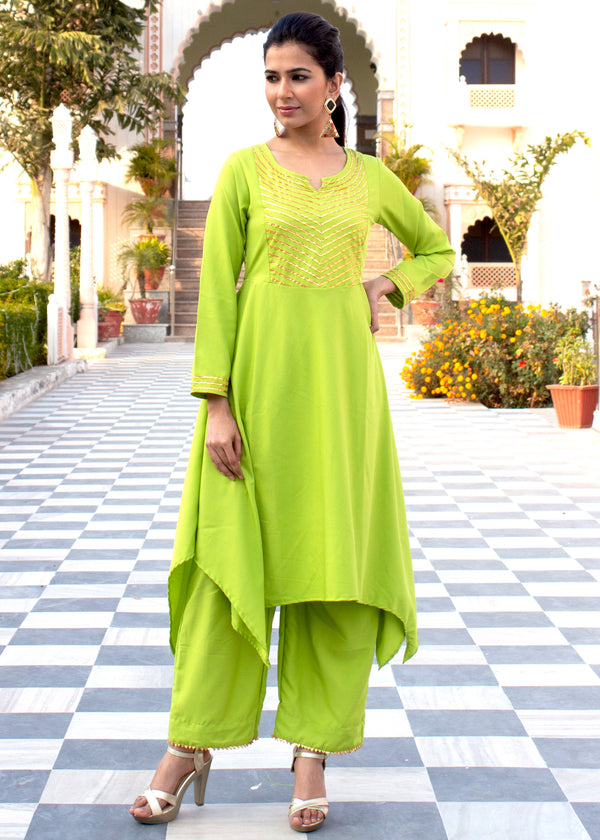 Grass Green High Low gota work Kurta Set