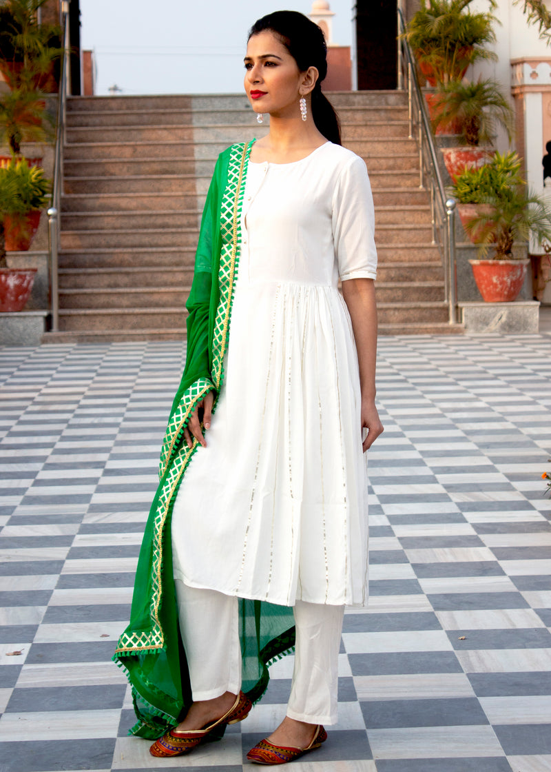 Plain White Side Gota Work Suit With Green Dupatta