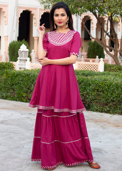 Gulbagh Magenta Short Kurta Skirt Set