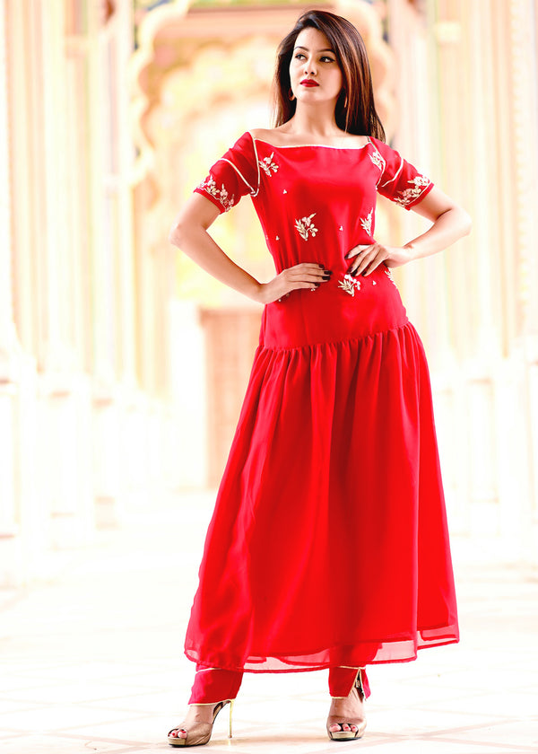 Red embellished gherdaar kurta set