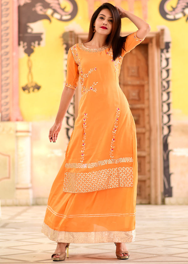 Peach orange gherdaar skirt and kameez set with hand zari gotta work