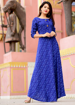 Indigo jaal pattern dress