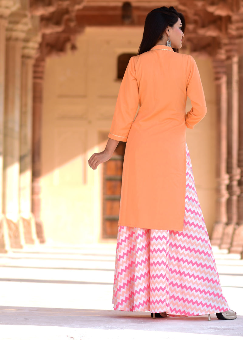 Beautiful shade of gotta work kurta skirt set