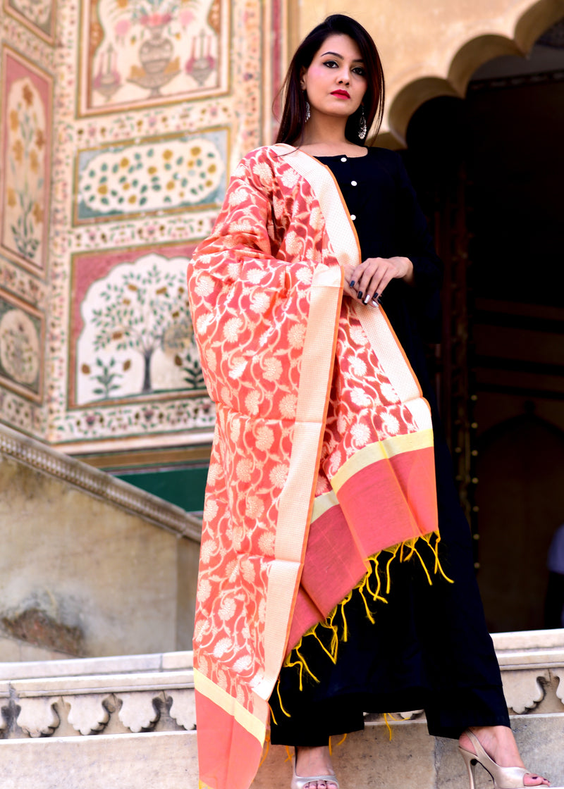 Black Frill kurta Set With Banarasi dupatta