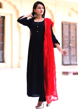 Beautiful Black kurta Set with kashmiri red dupatta