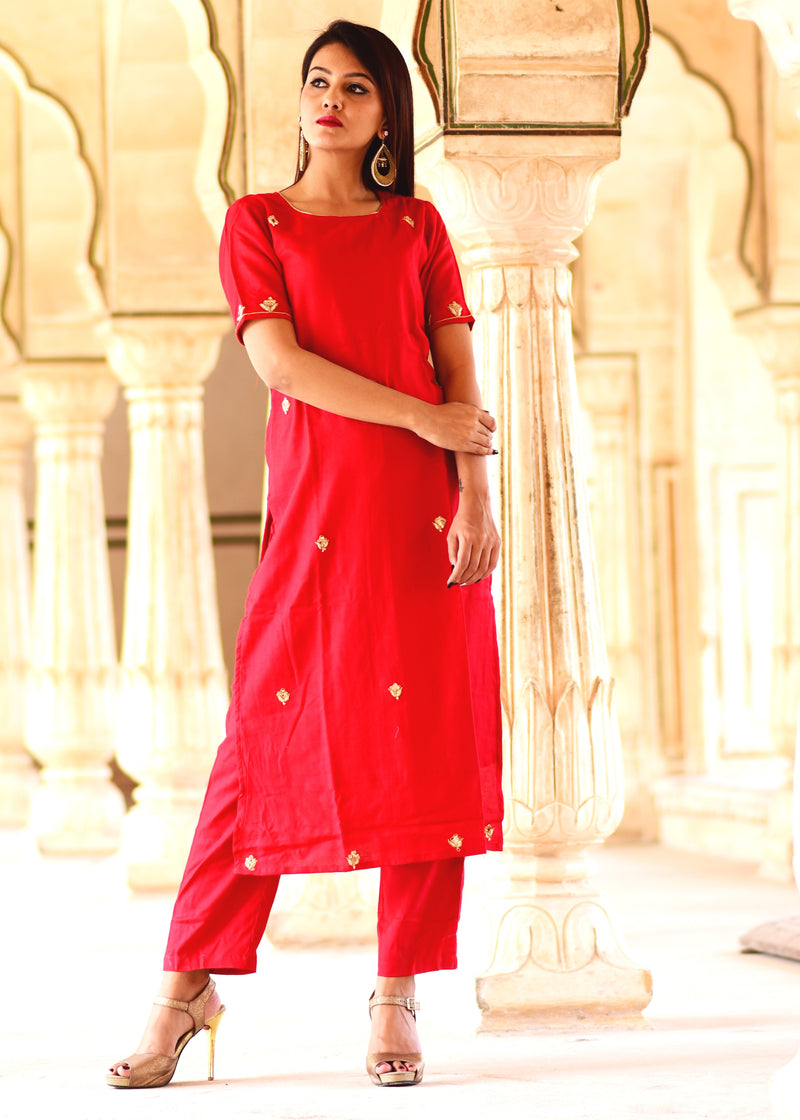 Red Straight kurta And Pant dress