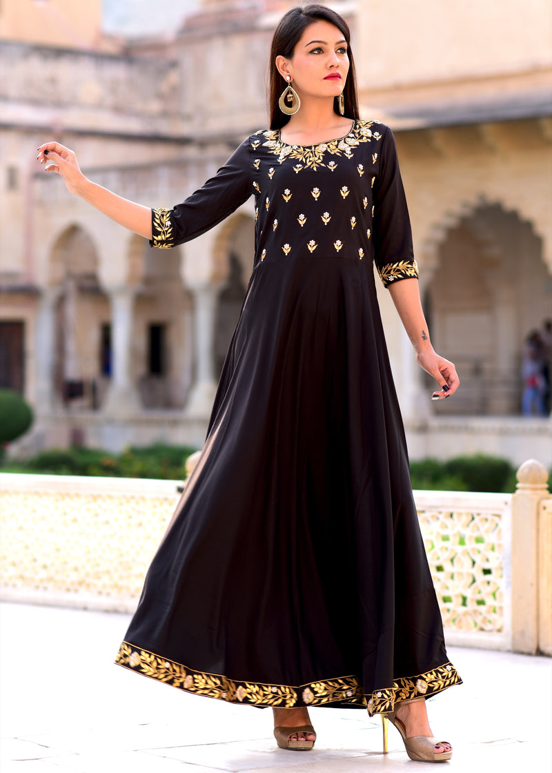 Exclusive Black Hand Work Gown