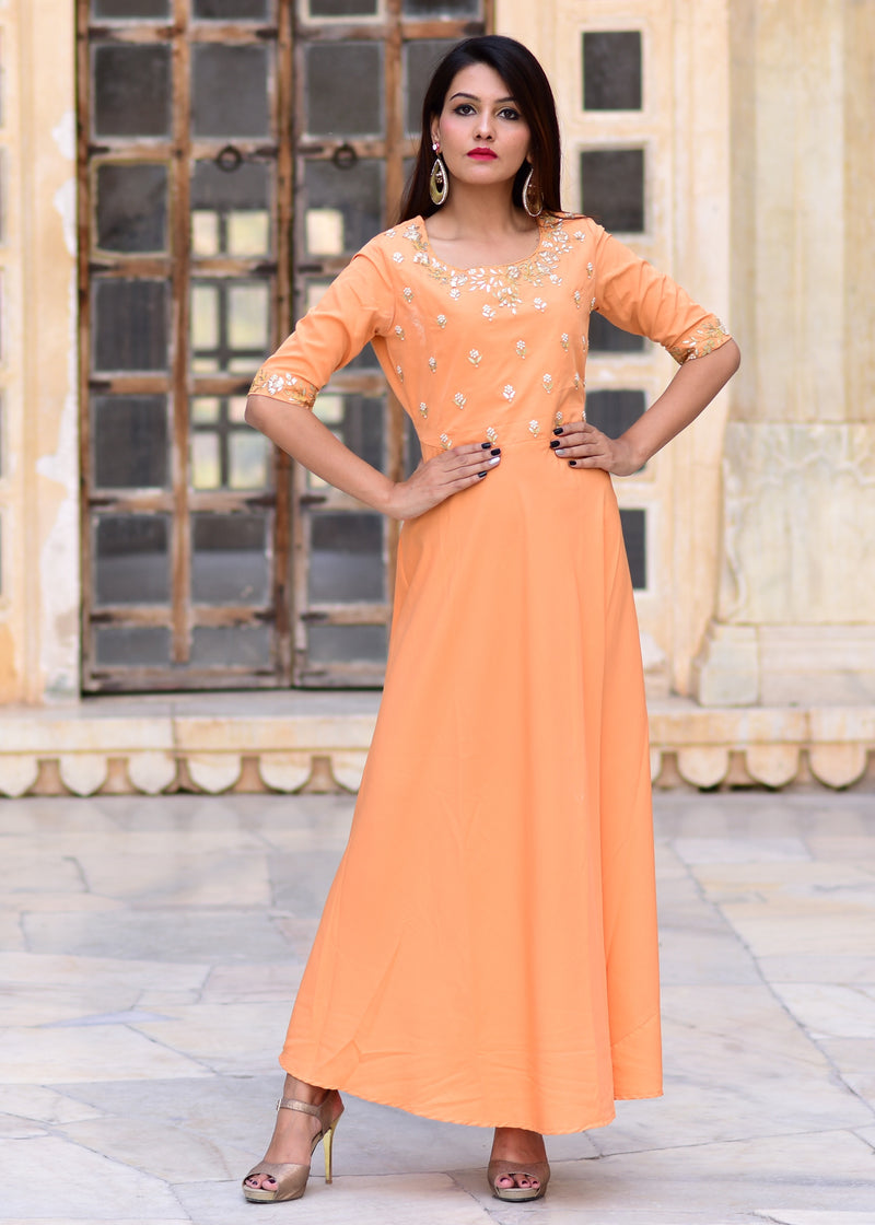 Exclusive Handwork Peach gown