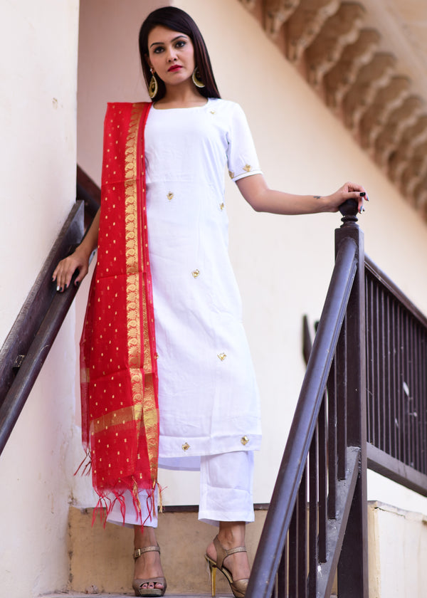 White Straight kurta And Pant dress with Beautiful Red dupatta