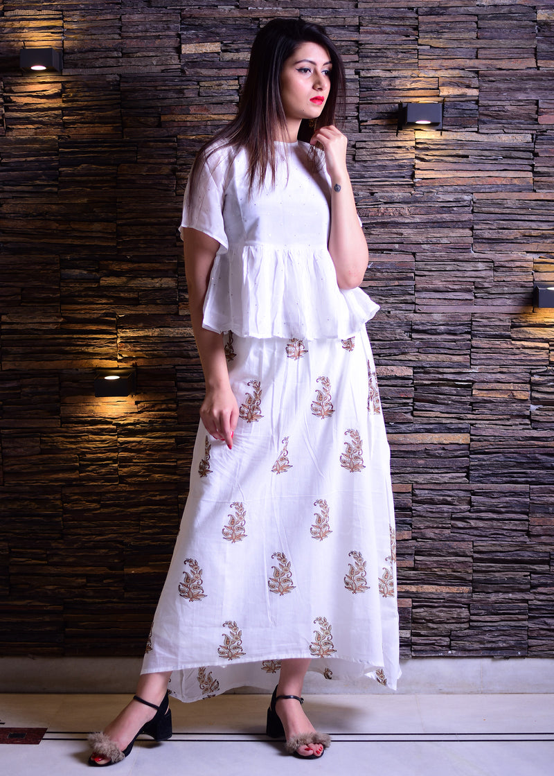 White dress with golden motif - Thread & Button