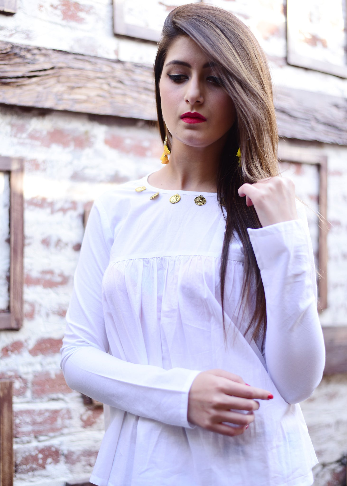 White Top with Yellow Dhoti pent - Thread & Button