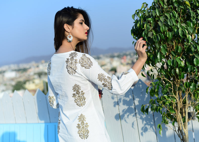 White dress with golden design - Thread & Button