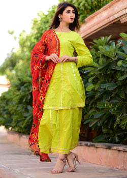 Green sharrara suit with Kashmiri jaal work dupatta