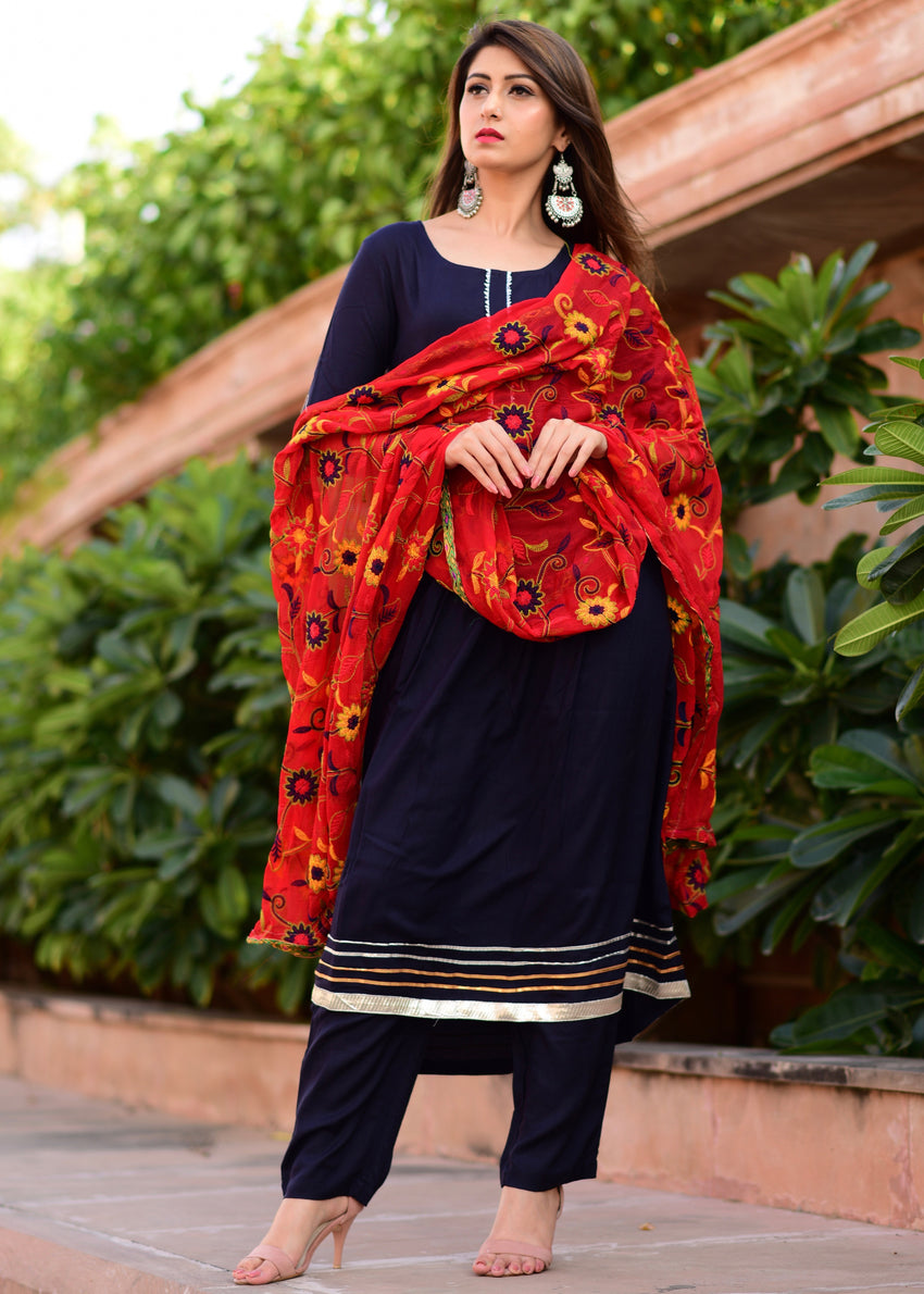 Beautiful Shade of blue suit with jaal dupatta