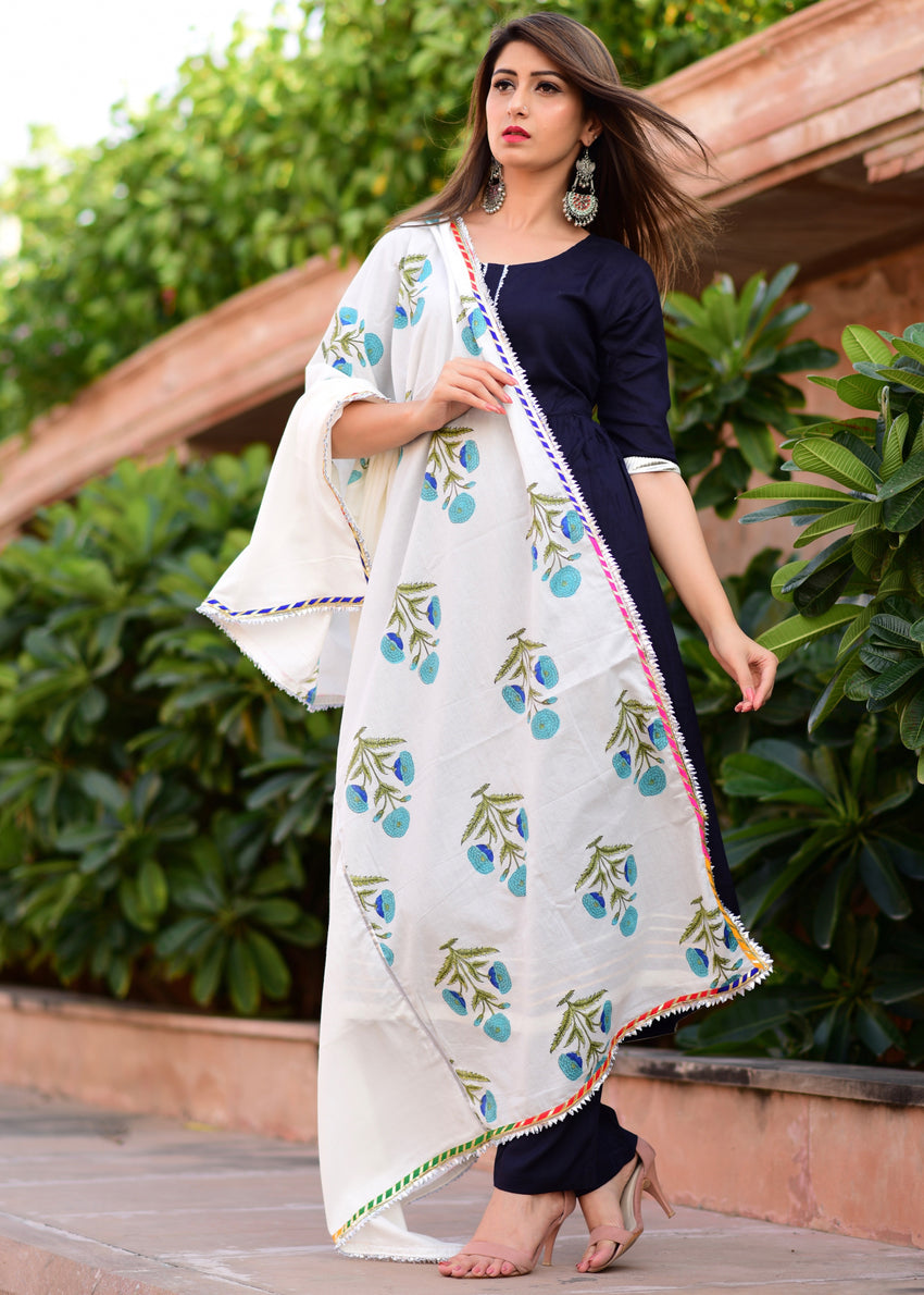 Beautiful Blue suit set with mughal butta dupatta