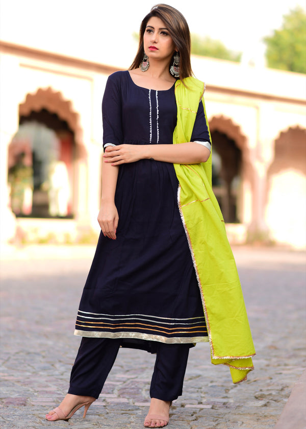 Blue suit set with gotta jaal dupatta