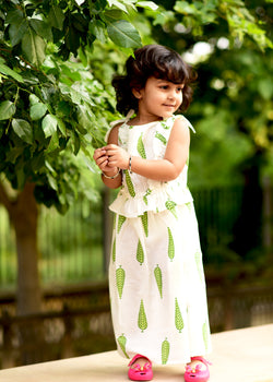 Exclusive Green Leaf Frill Dress