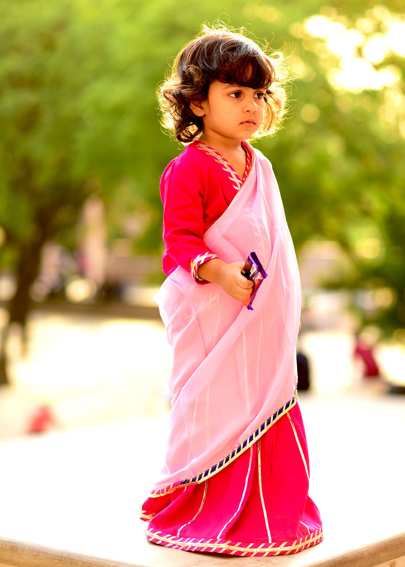 Beautiful Pink Lehanga With Pastel Shade Dupatta