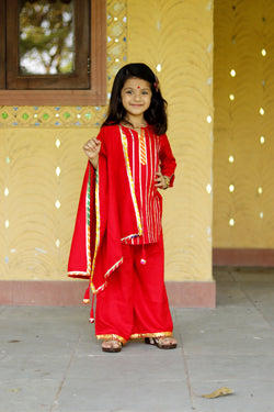 Red Sharara Set