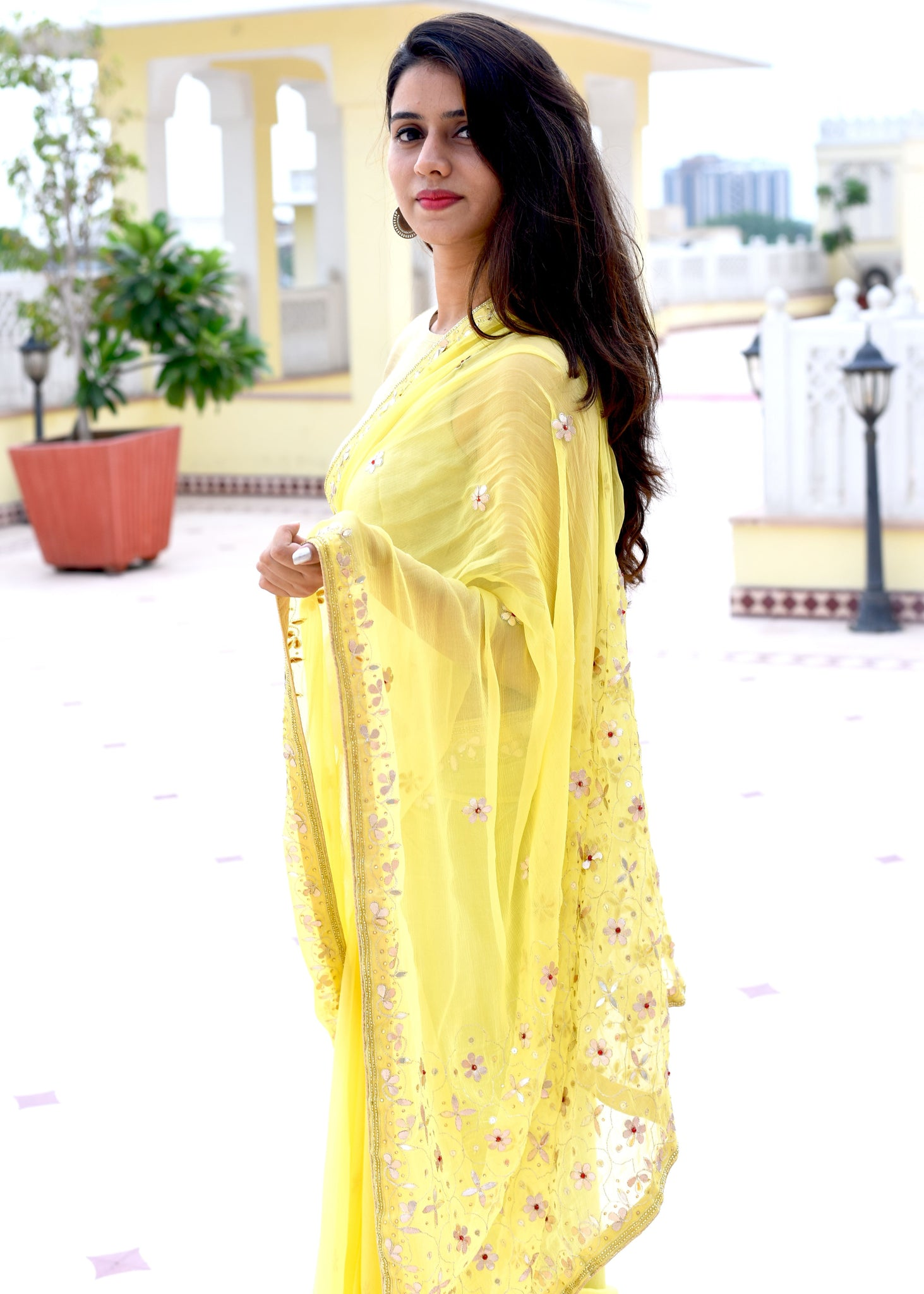 Beautiful yellow saree