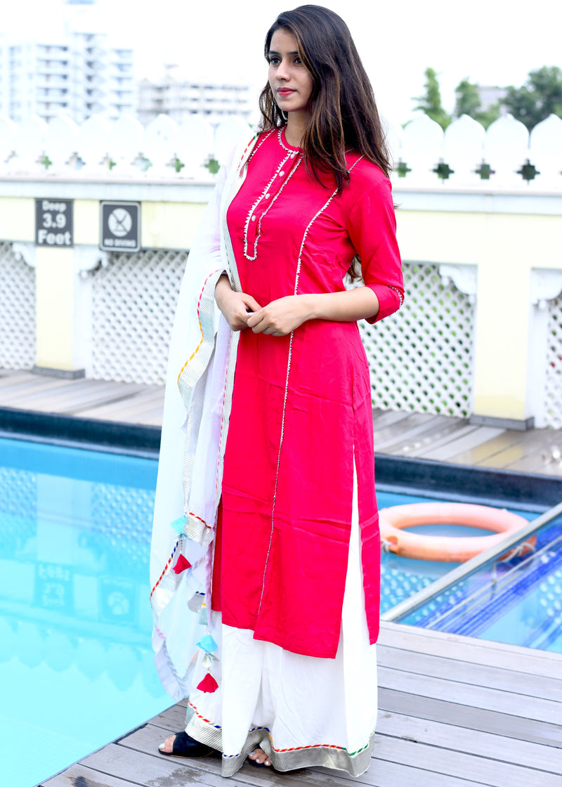 Beautiful red suit set with bijiya gota work