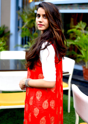Beautiful white long kurti with red jacket