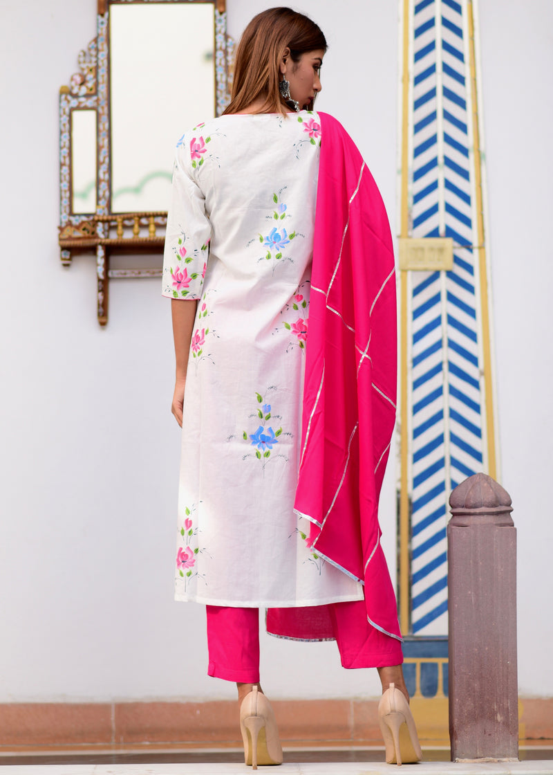 Beautiful Pink Exclusively Handpainted Suit Set With Gotta Jaal Work Dupatta