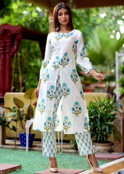 White base With Multi Butta Kurta Set