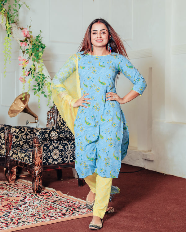 Teal Blue Handblock Suit With Dupatta